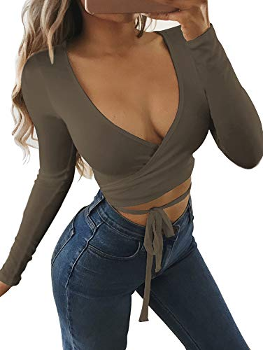 - SINRGAN Women's Deep V Neck Long Sleeve Bandage Cross Wrap Tie up Crop Top ArmyGreen