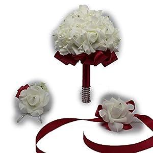 3 Pcs Wedding Bouquet Boutonniere Wrist Corsage Set Bridal Bridesmaid Red Rose Flowers Holder Bride Accessories Home Party 74