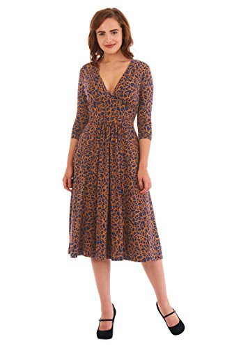 Knit Retro Print Empire Dress - 4