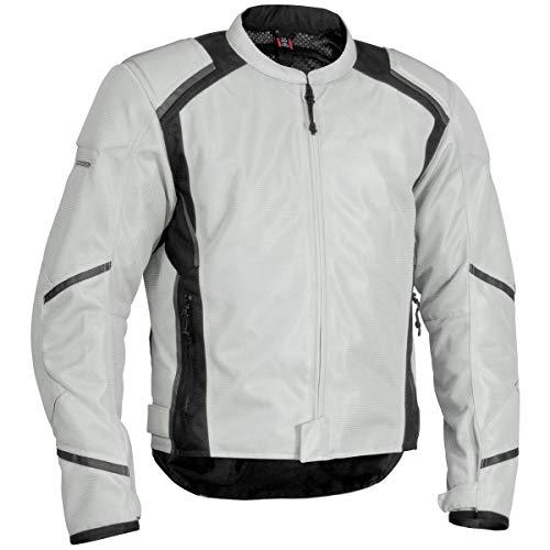 Tex Leather Jacket Mesh (Firstgear Mens Silver/Black Mesh-Tex Jacket - Large)