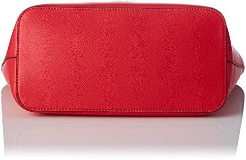 Scarlet Shopper Medium Zone Ck White Cabas Calvin Ck Klein Rouge tESI0
