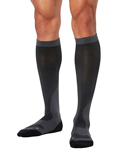 2XU Men's Performance Compression Run Sock, Titanium/Black, Large