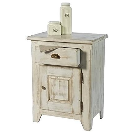 confiturier pino maciza encalado blanco 1 puerta 1 cajón \