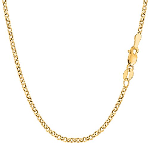 14k Yellow Gold Round Rolo Link Chain Necklace, 2.3mm, 24