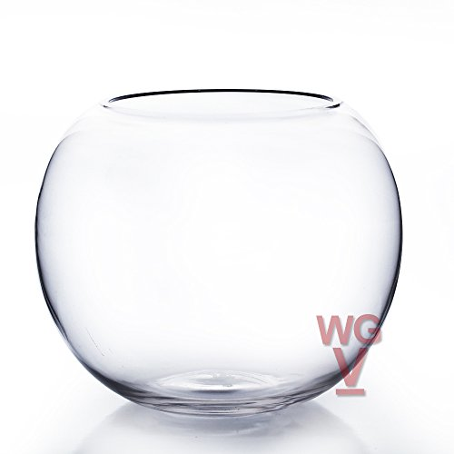 WGV Clear Bubble Bowl Glass Vase, 8-Inch With WGV Glass Cleaning Cloth (Set Punch Bowl Glass Carnival)