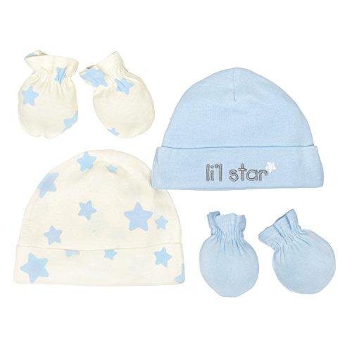 - Gerber Baby Boys 4 Piece Organic Cap and Mitten Set, Ivory/Light Blue, 0-6M