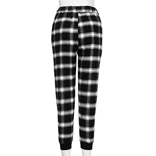 Casuale Da Pantaloni Magro Pantaloni Nero Moda Reticolo Donna Unisex Ghette wAA4U7