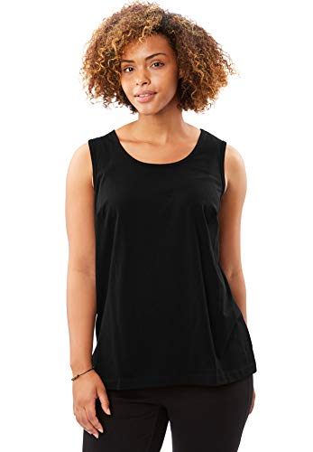 - Woman Within Women's Plus Size Perfect Tank Top - Black, 1X