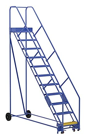 Vestil LAD-11-14-G-EZ- Escalera de almacenamiento, 50 grados, agarre, 11 peldaños, color azul: Amazon.es: Amazon.es