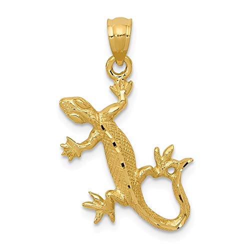 Jewel Tie 14K Yellow Gold Diamond-Cut Lizard Pendant - (0.91 in x 0.73 in)