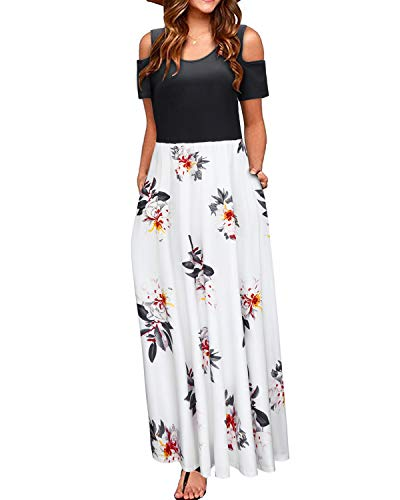 - STYLEWORD Women's Summer Cold Shoulder Floral Print Elegant Maxi Long Dress with Pocket(Floral10,L)