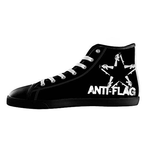 Fashion Black High Top Canvas Shoes Rock Band Anti-Flag Canvas Shoes for Women cIuZGcAOH