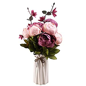 Uworld Artificial Flowers Real Looking Fake Peony for Party,DIY Wedding Bouquets Home Centerpieces(Purple A)