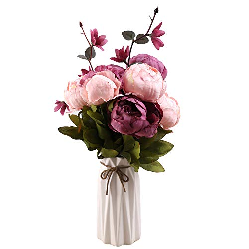 Pink Red Wedding Flowers (Uworld Artificial Flowers Real Looking Fake Peony for Party,DIY Wedding Bouquets Home Centerpieces(Purple A))
