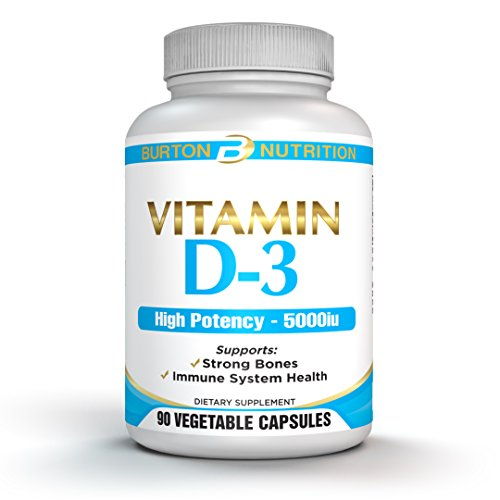 Vitamin D-3 by Burton Nutrition - 90 Capsules, 5000 IU - Supports Strong Bones and Immune System Health