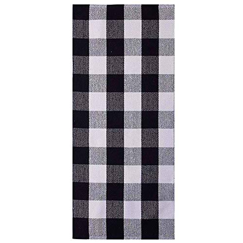 Ukeler Buffalo Check Plaid Rug Runner 2'×6'- Cotton Buffalo Check Table Runner Black and White Area Rug Runner for Kitchen/Bedroom ()