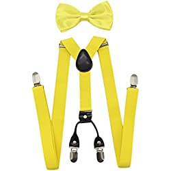 JAIFEI Men's 4 Clips Suspenders and Pre Tied Bow Tie Set for Tuxedo Wedding (Lemon Yellow)