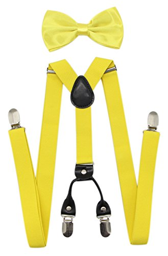 JAIFEI Men's 4 Clips Suspenders and Pre Tied Bow Tie Set for Tuxedo Wedding (Lemon -