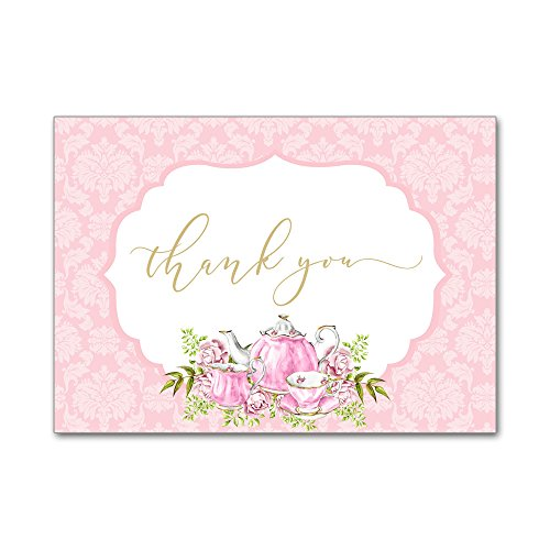 (Set of 12 Thank You Notes and Envelopes Bridal Shower Wedding with Watercolor Tea Party Teapot in Pink and Gold TYB8034)