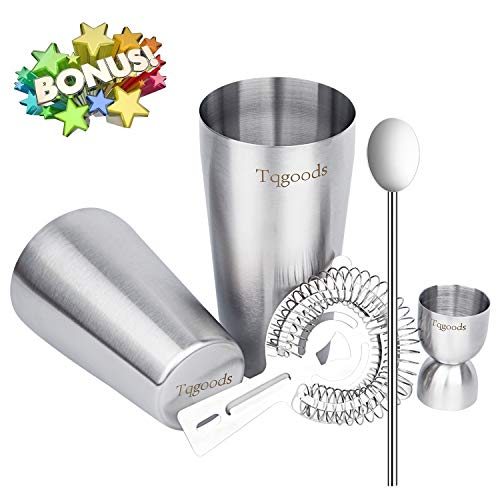 Spoon Stainless Boston Steel (Cocktail Shaker Set for Professional Bartender and Home Bar including 26oz & 20oz Boston Shaker, Strainer, Measuring Jigger and Mixing Spoon ( 5 Piece Set ) / Bonus Cocktail Recipe (ebook) by Tqgoods)
