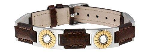 Sabona Brown Leather Gem Duet Magnetic Bracelet by Sabona