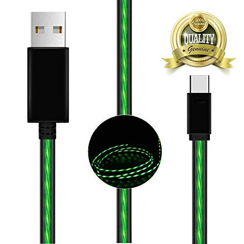 USB Type C Cable, BAVNCO 4ft Visible LED Light Flowing Type C Cable Fast Charging USB to C Charger Cord for Samsung Galaxy S9 S8 Plus Note 9 8/ LG V30 V20 G6 G5/ Huawei/HTC More Android Phone (Green)