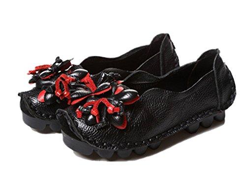 Soojun Para Mujer De Cuero Informal Holgazán Zapatos Slip-on Flats Con Flor Estilo 1 Negro