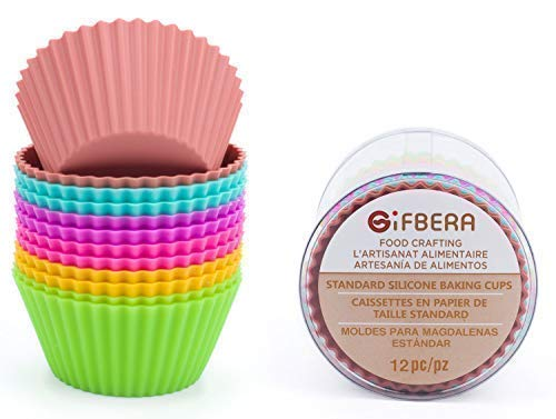 - Gifbera Reusable Silicone Cupcake Baking Cups Standard Muffin Molds, 6 Colors, Pack of 12
