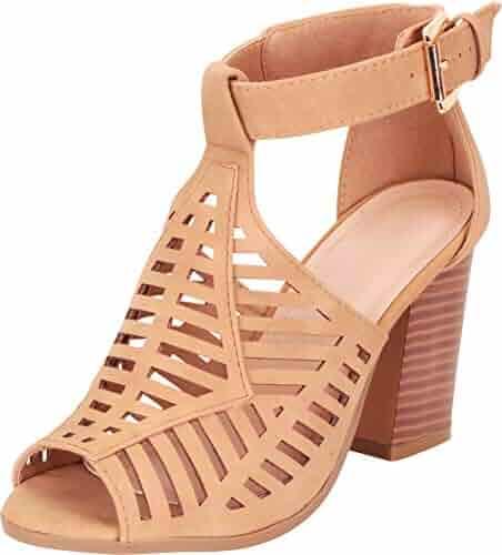 513601602319 Cambridge Select Women s Open Toe Laser Cutout Chunky Block Heel Ankle  Bootie