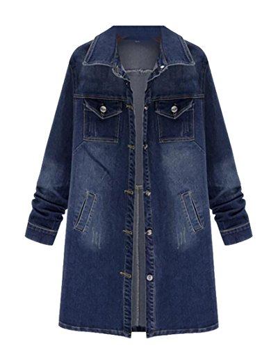 Cheap Beloved Women's Long Sleeve Casual Plus Size Long Denim Jacket