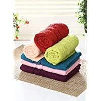 Bombay Dyeing Cotton Hand Towel Set (Green, Pink, Blue, Maroon) - 6 Pieces