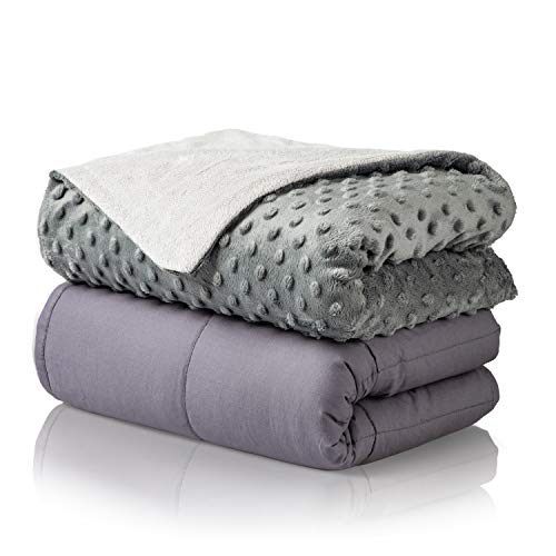 """Premium Cotton 15lbs Adult Weighted Blanket Set with Removable Minky Cover 