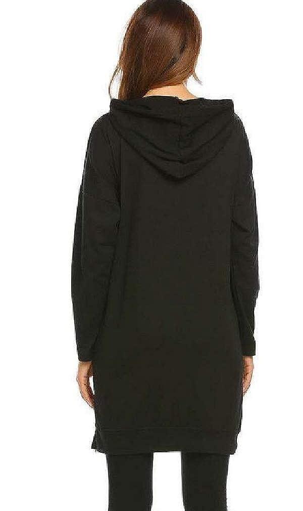 DressU Womens Solid High Low Hem Hooded Pocketed Pullover Sweatshirt