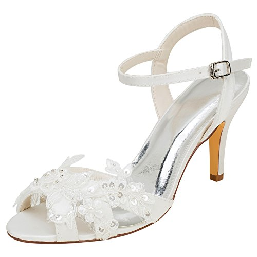 (Emily Bridal Wedding Shoes Women's Silk Like Satin Stiletto Heel Peep Toe Sandals with Sequin Stitching Lace Pearl (EU38/7.5 B(M) US, Ivory))