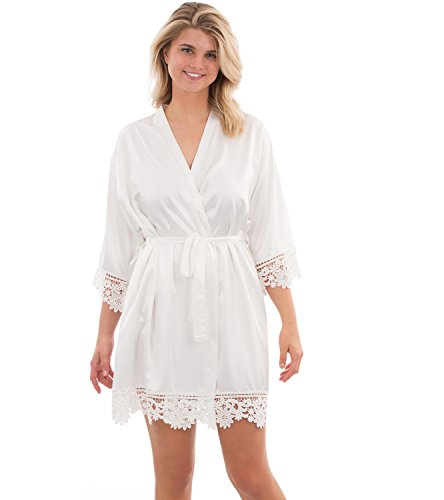 VEAMI Annabelle Lace Satin Robe, Short Robe for Women- White Magnolia- Large