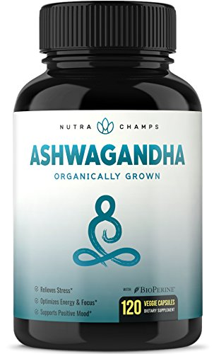 Organic Ashwagandha 1200mg – 120 Vegan Capsules w/BioPerine – Premium Root Powder Supplement for Stress & Anxiety Relief, Mood & Thyroid Support – Ashwaganda w/Black Pepper Extract