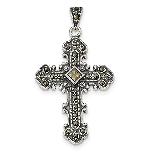 ICE CARATS 925 Sterling Silver Marcasite Cross Religious Pendant Charm Necklace Fine Jewelry Ideal Gifts For Women Gift Set From ()
