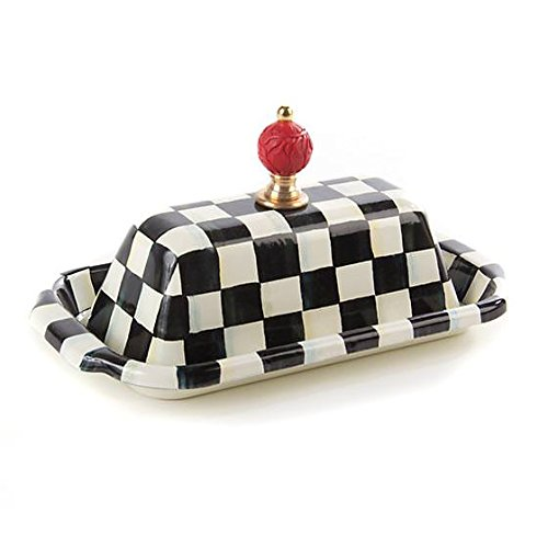 - MacKenzie-Childs Butter Dish with Lid Stainless Steel Enamel Courtly Checks Container - Black and White Box - Rectangular - 5