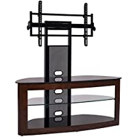 TransDeco TV Stand with Mount for 35-65 TV Dark Oak/Black TD600DB