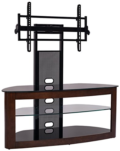 "TransDeco TD600DB TV Stand with Mount, 35""-80"", Dark Oak/Bla"