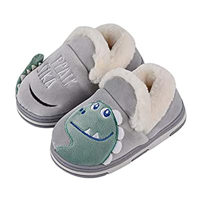 SITAILE Toddler Boys Girls House Slippers,Kids Fur Lined Warm Slip On Home Slippers Cute Winter Nonslip Indoor Slippers Grey Size 5-5.5 Toddler