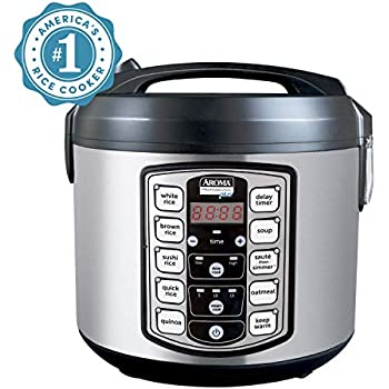 Aroma Housewares Professional Plus ARC-5000SB 20 Cup (Cooked) Digital Rice Cooker, Food Steamer, Slow Cooker, Stainless Exterior/Nonstick Pot, Silver, Black, 10-cup uncooked/20-cup cooked/4QT