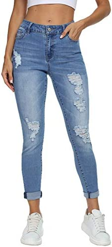 Muhadrs Women's Stretch Skinny Ripped Distressed Jeans Classic Destroyed Hole Jeans