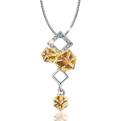 (OSIANA Ice Cube 18K White Gold Plated Fashion Pendant Necklace Made with Swarovski Crystal 18