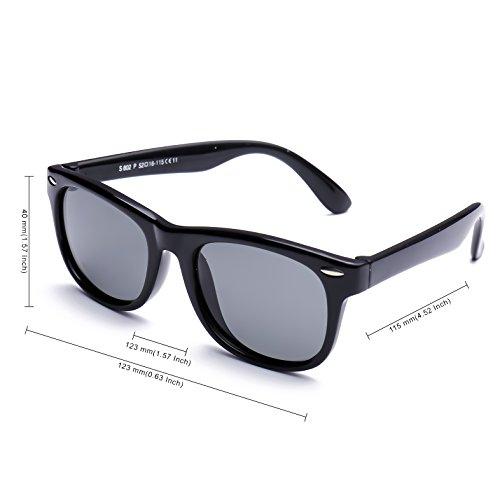 078d710b4fda TPEE Rubber Flexible Kids Toddler Polarized Wayfarer Sunglasses Age 3-10