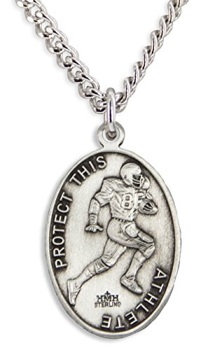 Medal Pendant Football (Men's Sterling Silver Oval Saint Christopher Football Medal + 24 Inch Endless Rhodium Plated Chain)