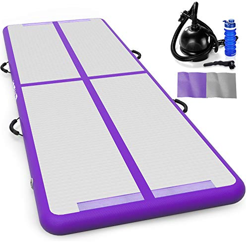 Fostoy Air Tumble Track Mat, Air Tumble Track Set Inflatable Airtrack Gymnastics Mat with Electric Air Pump for Practice Gymnastics, Tumbling,Parkour, Home Floor