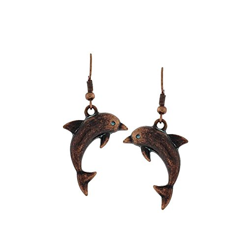 Antiqued Copper Dolphin/Porpoise Drop Earrings with Light Blue-Green - Oceanic Flippers