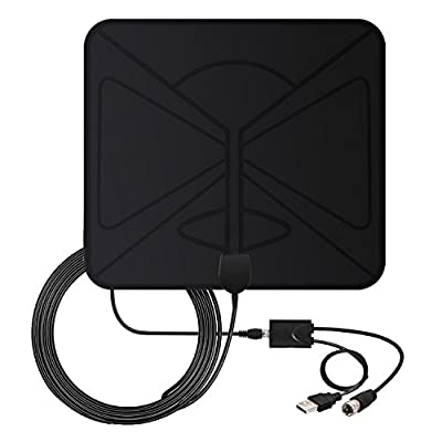 TV Antenna 50 Miles Booster - Coolmade 2017 Indoor Digital HDTV Antenna with Detachable Signals Amplified Booster Loog Range Antenna for TV 1080P High Reception Free TV with 9.8Ft Coaxial Cable