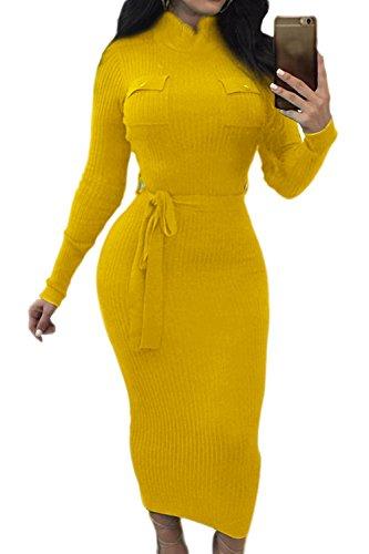 La Mujer De Manga Larga Con Cuello Alto Invierno Vestido Bodycon Crucería Yellow